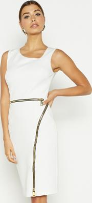 White Asymmetric Neck Bodycon Dress