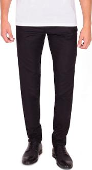 Black Slim Fit Cotton Stretch Chinos