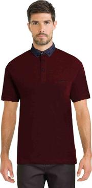Dark Red Pique Polo Shirt With Floral Geo Collar