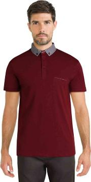 Dark Red Polo Shirt With Geo Print Collar