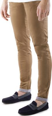 Light Brown Turn Up Slim Fit Cotton Stretch Chinos