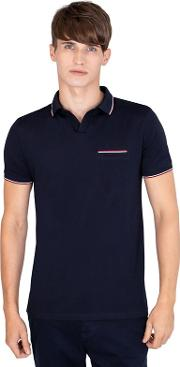 Navy Jersey Contrast Trim Polo Shirt