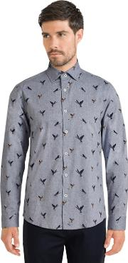 Navy Limited Edition Dragonfly Print Shirt