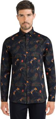 Navy Limited Edition Tropical Parrot Print Shirt