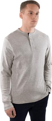 Pale Grey Cotton Long Sleeve henley Jumper