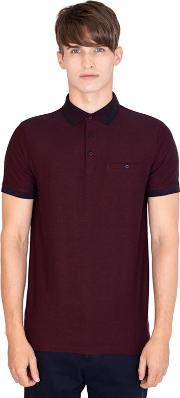 Red Yarn Dyed Polo Shirt