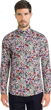 White Limited Edition Floral Print Shirt