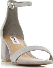 40b90f3d78c Grey Suede new Irenee Mid Block Heel Ankle Strap Sandals