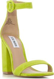 Light Green Suede friday Mid Block Heel Ankle Strap Sandals