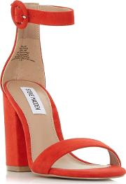Red Suede friday Mid Block Heel Ankle Strap Sandals