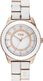 London Ladies White And Gold Round Dial Bracelet Watch Zarina Gold