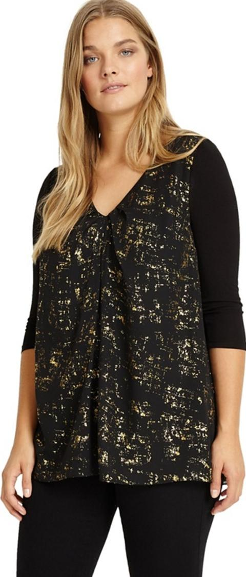 Sizes 12 26 Black And Gold Imelda Top