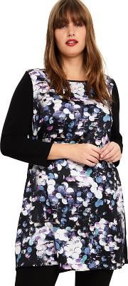 Sizes 14 26 Black Multi Dahlia Printed Tunic