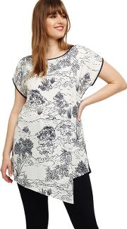 Sizes 16 26 Navy And White tonya Printed Blouse