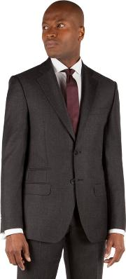 Charcoal Dogtooth 2 Button Front Tailored Fit Suit Jacket