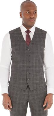 Grey Check Tailored Fit Performance Waistcoat