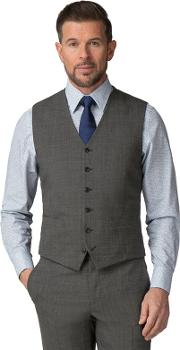 Grey Puppytooth Wool Blend 6 Button Tailored Fit Suit Waistcoat
