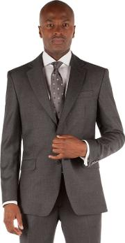 Grey Twill 2 Button Front Tailored Fit Ivy League Suit Jacket