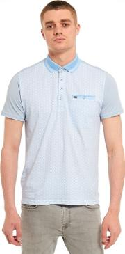 Big And Tall Blue Printed Front Polo Shirt