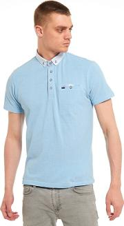 Big And Tall Light Blue Printed Collar And Pocket Polo Shirt