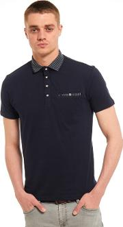 Big And Tall Navy Jacquard Collar And Pocket Polo Shirt