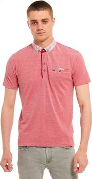 Big And Tall Red Printed Collar And Pocket Polo Shirt