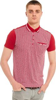 Big And Tall Red Printed Front Polo Shirt