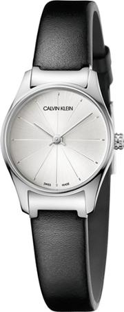 Calvin Klein Ladies Black classic Too Analogue Leather Strap Watch K4d231c6