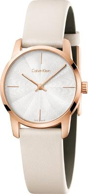 Calvin Klein Ladies Cream city Analogue Leather Strap Watch K2g236x6