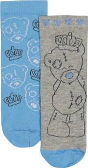 Pack Of Two Girls' Blue And Grey 'me To You' Socks
