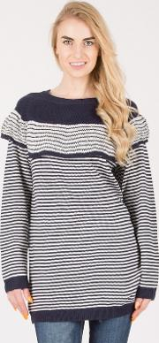 Blue Layered Stripy Knitted Jumper