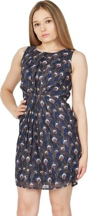 Blue Peacock Feather Print Tie Back Dress