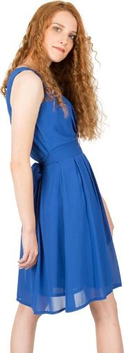 Blue V Neck Plain Tie Back Dress