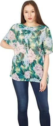 Green Front Ruffle Floral Batwing Top