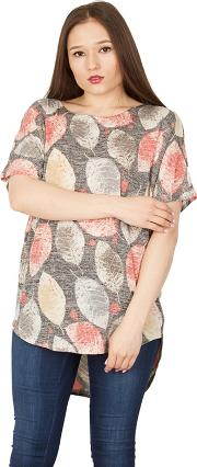 Multicoloured Short Sleeve Leaf Print Loose Top