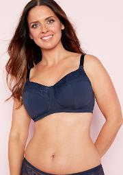 2 Pack Navy And White Lace Non Wired Padded Post Surgery Mastectomy Bra