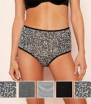 5 Pack Cotton Blend Full Brief Knickers