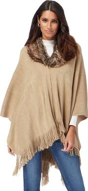 Beige Faux Fur Collar Wrap