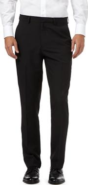 Big And Tall Black Pinstripe Flat Front Trousers
