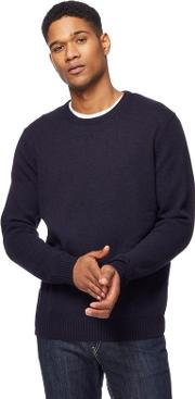 Big And Tall Navy Lambswool Blend Crew Neck Jumper