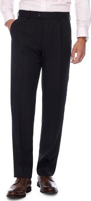 Big And Tall Navy Pleat Front Herringbone Smart Trousers