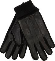 Black Leather Knitted Edge Gloves