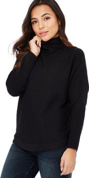 Black Ribbed Knit Roll Neck Long Sleeve Petite Jumper