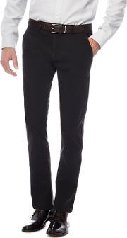 Black Slim Fit Belted Chinos