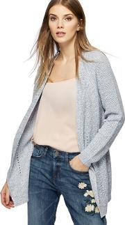 Blue Chunky Knit Pointelle Cardigan
