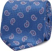 Blue Embroidered Paisley Silk Tie