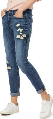 Blue Floral Embroidered Girlfriend Jeans