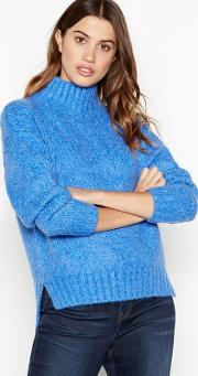 Blue Relaxed Fit Roll Neck Jumper