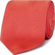 Bright Red Ribbed Slim Silk Tie