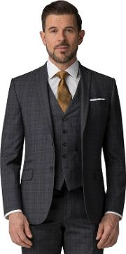 Charcoal Tonal Check Tailored Fit Jacket